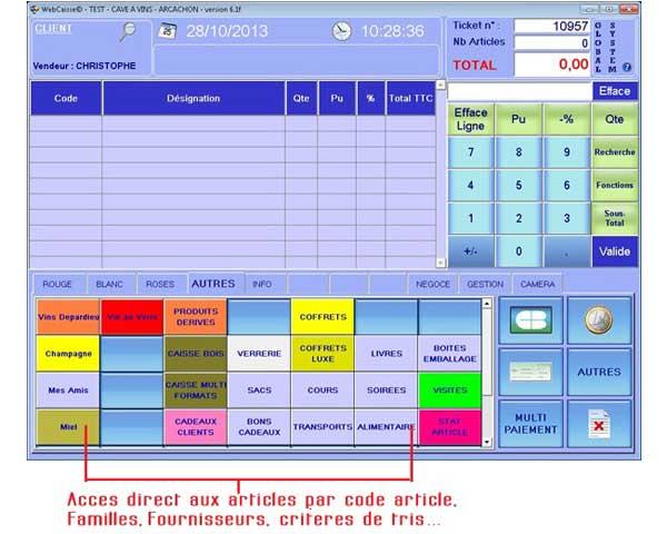 logiciel de caisse interface accès article