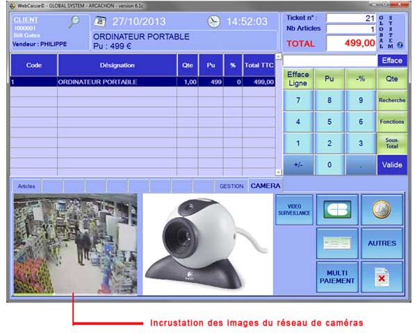 logiciel de caisse interface vidéo