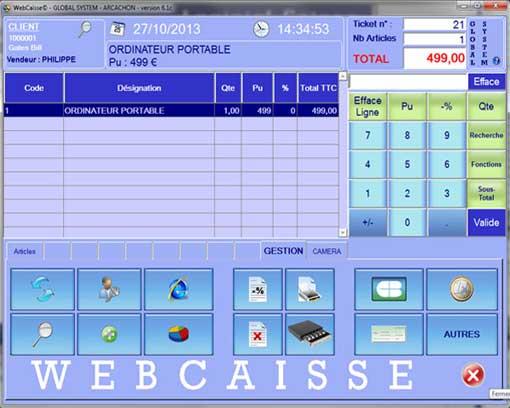 logiciel de caisse interface principale