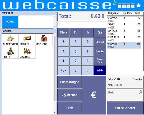 logiciel de caisse interface visuelle